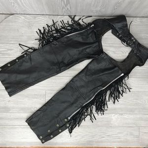 Vintage leather chaps w/ buttons, zipper & fringe